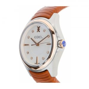 Ebel Wave Diamond Silver Dial Brown Leather Ladies