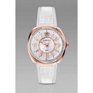 Savoy Epic 36mm Swiss Made Diamond Womens Watch White dial Rose Gold IP — White