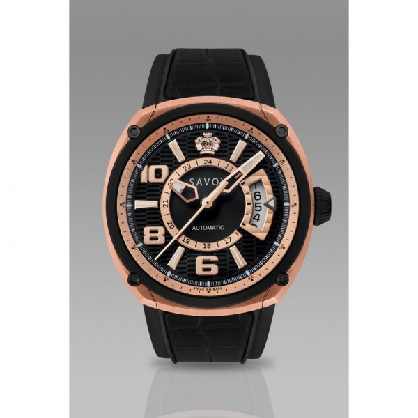 Savoy Epic Automatic 43mm Swiss Made Rose Gold IP - Black