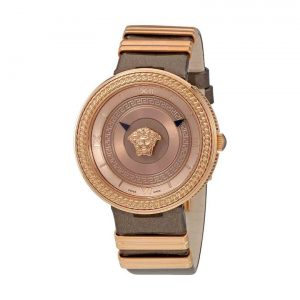 Versace V-Metal Icon Brown Leather Ladies Watch