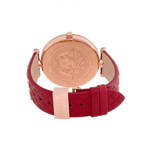 Versace Vanitas Red Enamel Dial Rose Gold-tone Ladies Watch