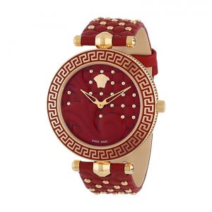 Versace Vanitas Red Enamel Dial Rose Gold-tone Ladies Watch